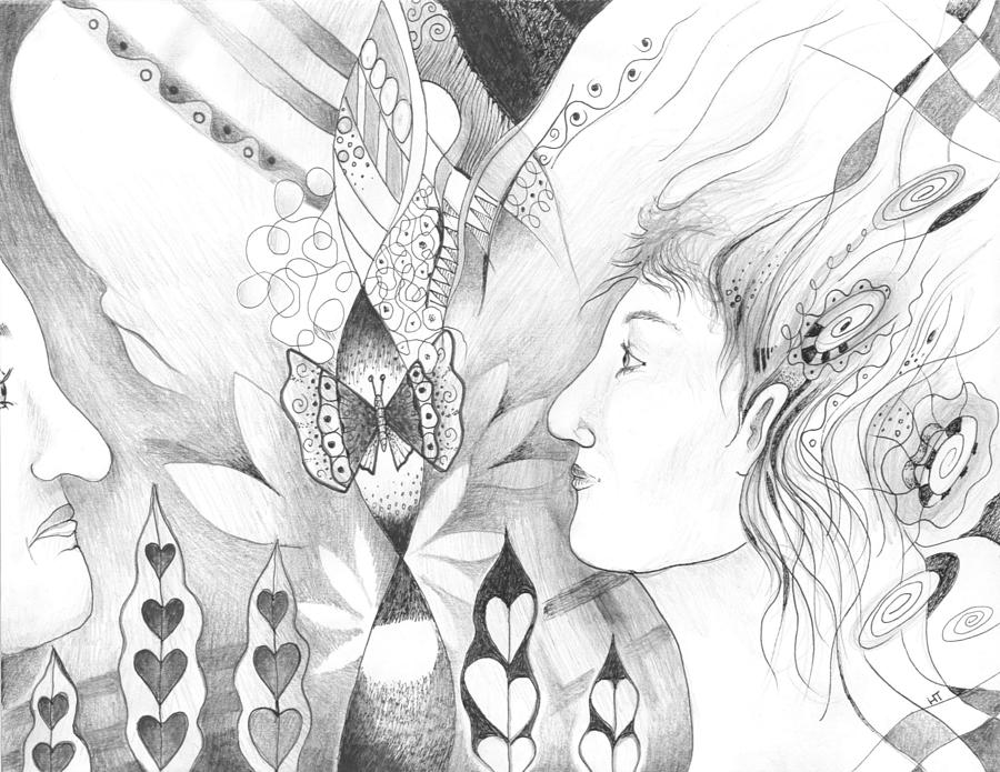 Figurative Drawing - The Change And The Changing by Helena Tiainen