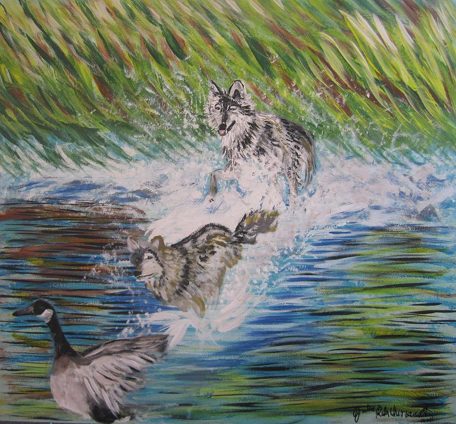 The Chase Painting by Julia Rita Theriault