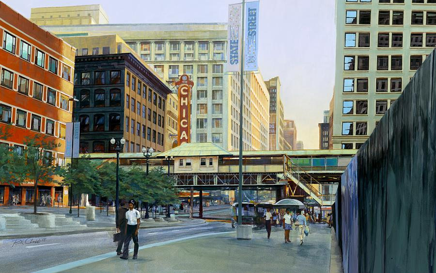 Urban Painting - The Chicago Theater by Rick Clubb