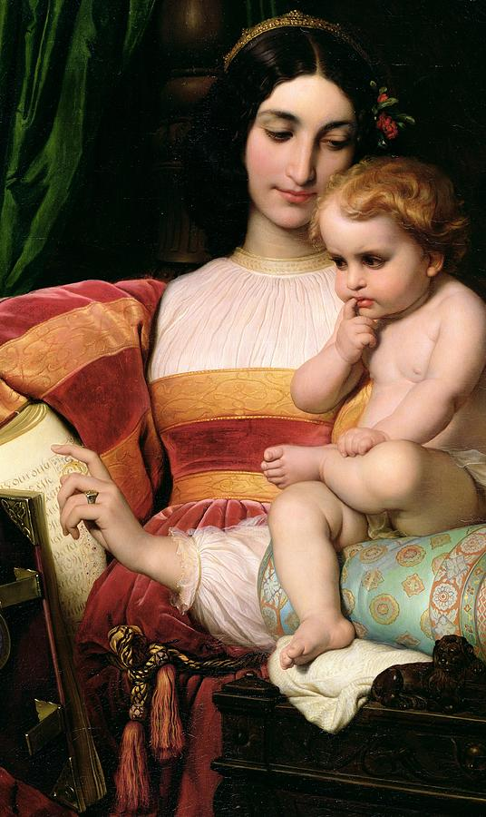 Mothering Painting - The Childhood Of Pico Della Mirandola by Hippolyte Delaroche