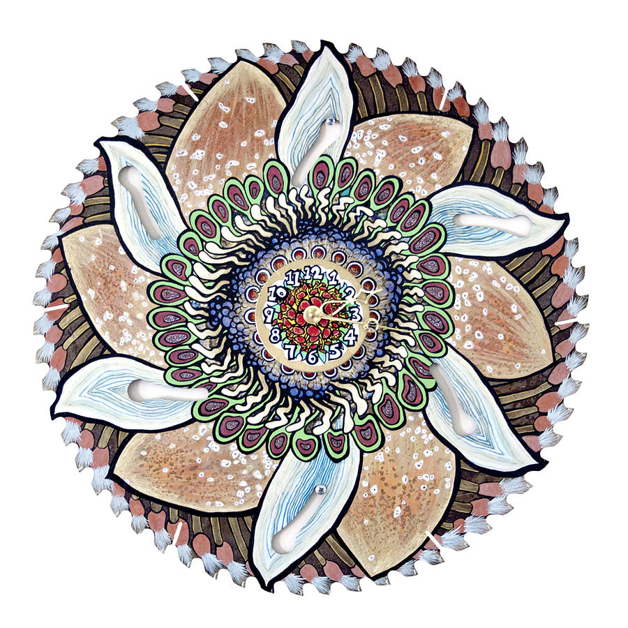 Mixed Media Painting - The Chris-can-themum Wall Clock by Jessica Sornson