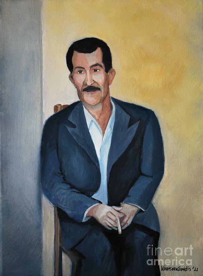 Father Painting - The Cigarette by Kostas Koutsoukanidis