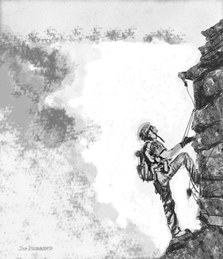 Pencil Drawing - The Climber by Jim Hubbard
