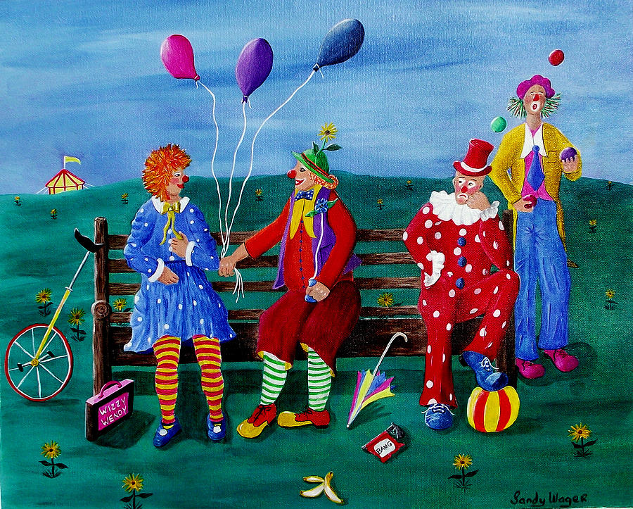 Clown Painting - The Clowns by Sandy Wager