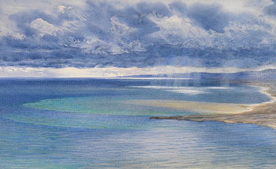 Seascape Painting - The Coast Of Sicily From The Taormina Cliffs by John Brett