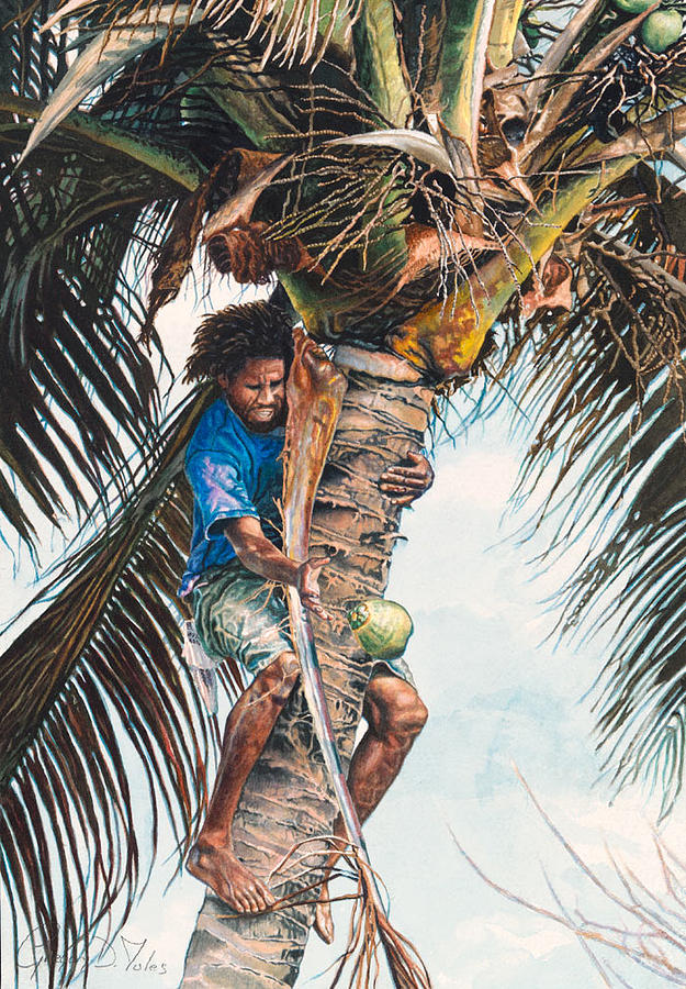 Tree Painting - The Coconut Tree by Gregory Jules