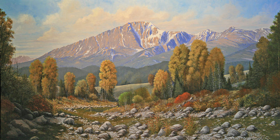 Pikes Peak Coffee >> The Color Of August - Pike Peak 111121-3060 Painting by Kenneth Shanika