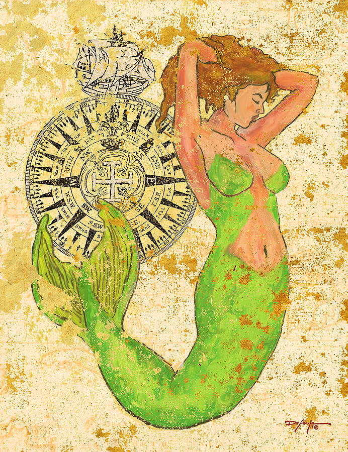 Mermaid Mixed Media - The Compass And The Mermaid by William Depaula