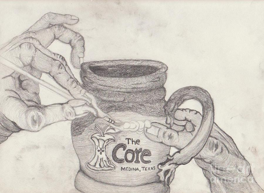 The Core Drawing - The Core Mug by TK Mayfield