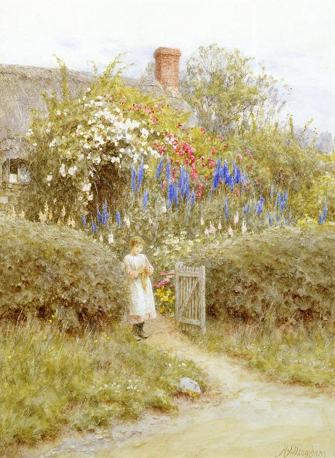 Girl; Child; Thatched; Garden; Lupins Painting - The Cottage Gate by Helen Allingham
