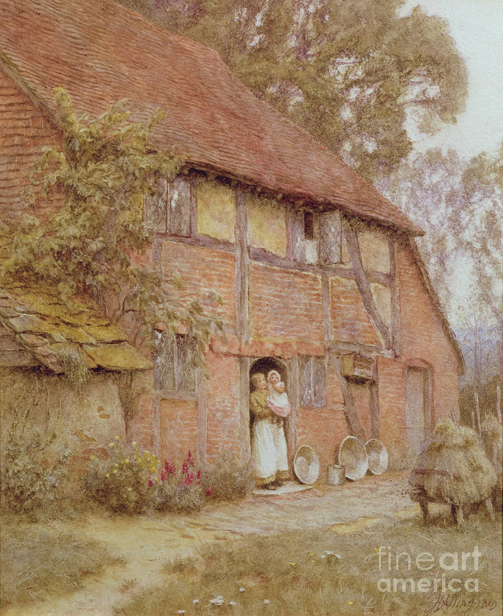 The Cottage With Beehives Painting - The Cottage With Beehives by Helen Allingham