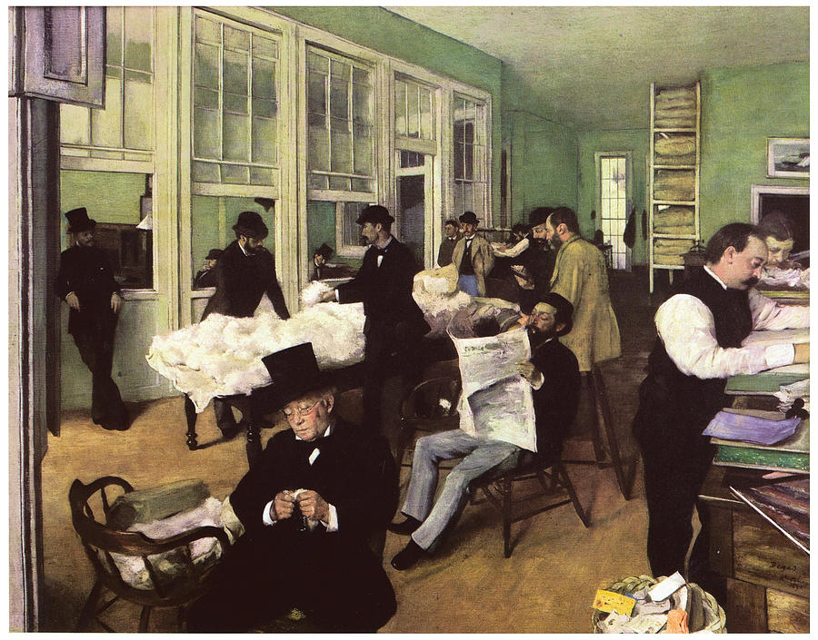 Market Painting - The Cotton Market In New Orleans by Edgar Degas