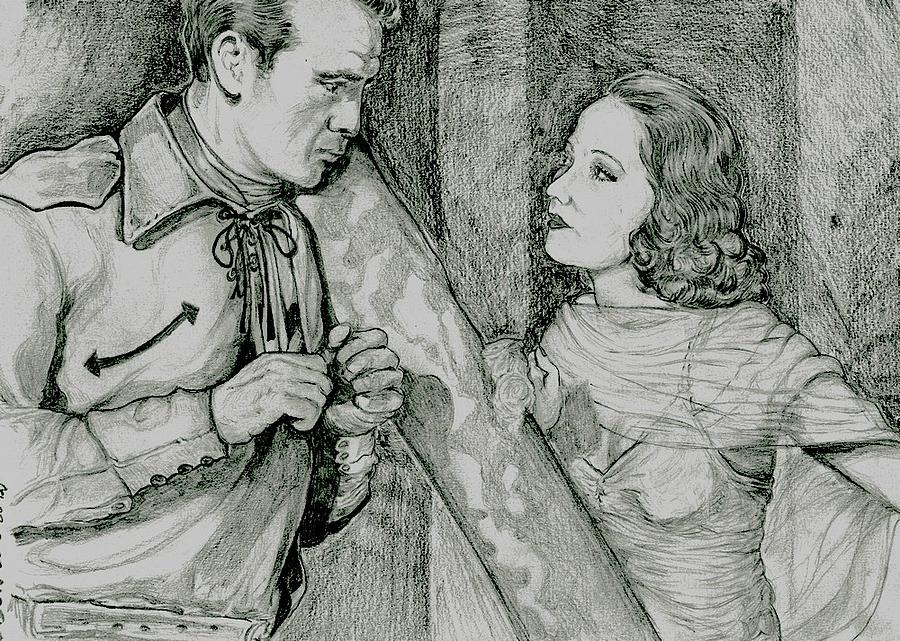 Gary Cooper Drawing - The cow boy and the Lady by Didier DidGiv