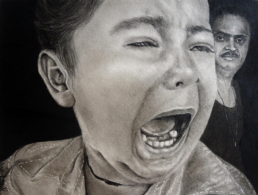 Crying Child Drawing - The Crying Child by Mickey Raina