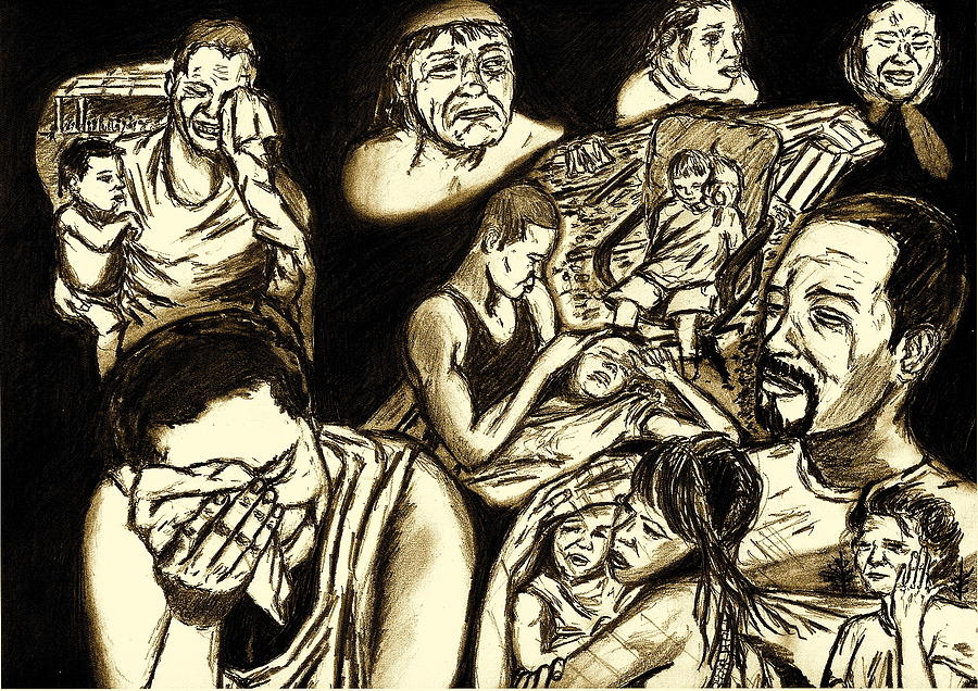 Crying Faces Drawing - The Crying Faces Of New Orleans by Master J Harrattan