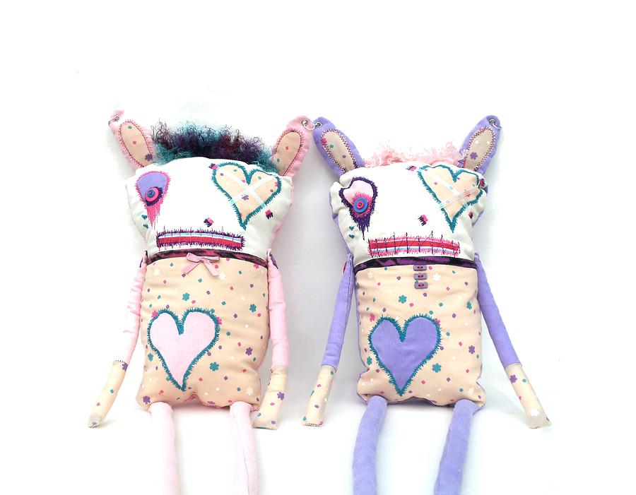 Doll Sculpture - The Cutie Patootie Zombie Bunny Twins by Oddball Art Co by Lizzy Love