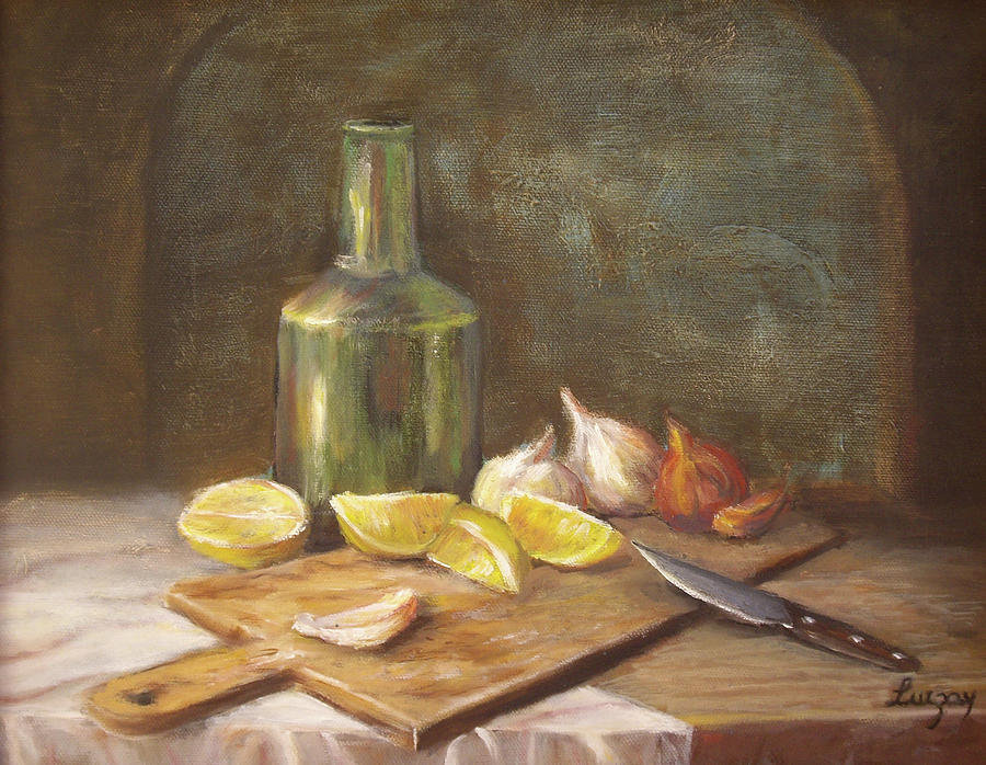 Still Life Painting Painting - The Cutting Board by Luczay