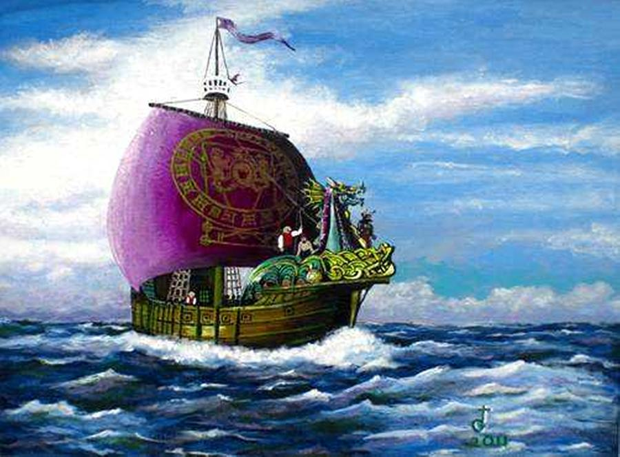 the dawntreader on the high seas painting by tom greenslade