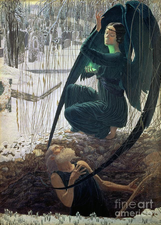 Carlos Schwabe Painting - The Death And The Gravedigger by Carlos Schwabe