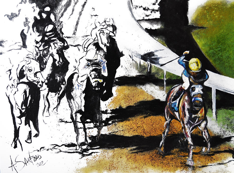 Horse Painting - The Derby by Amanda  Sanford