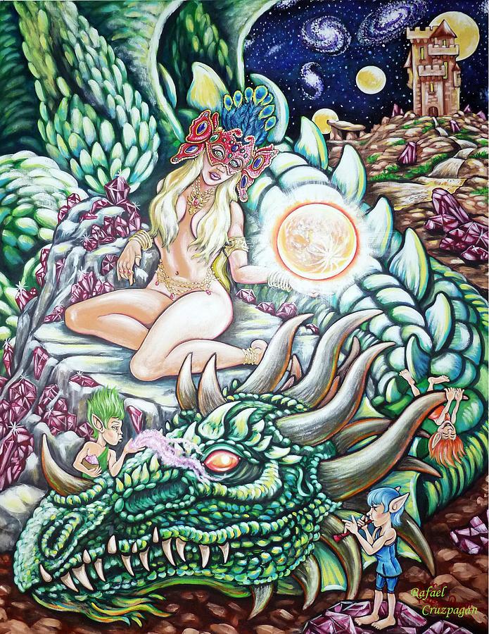 Dragons Painting - The Dragon Tamers by Rafael Cruzpagan