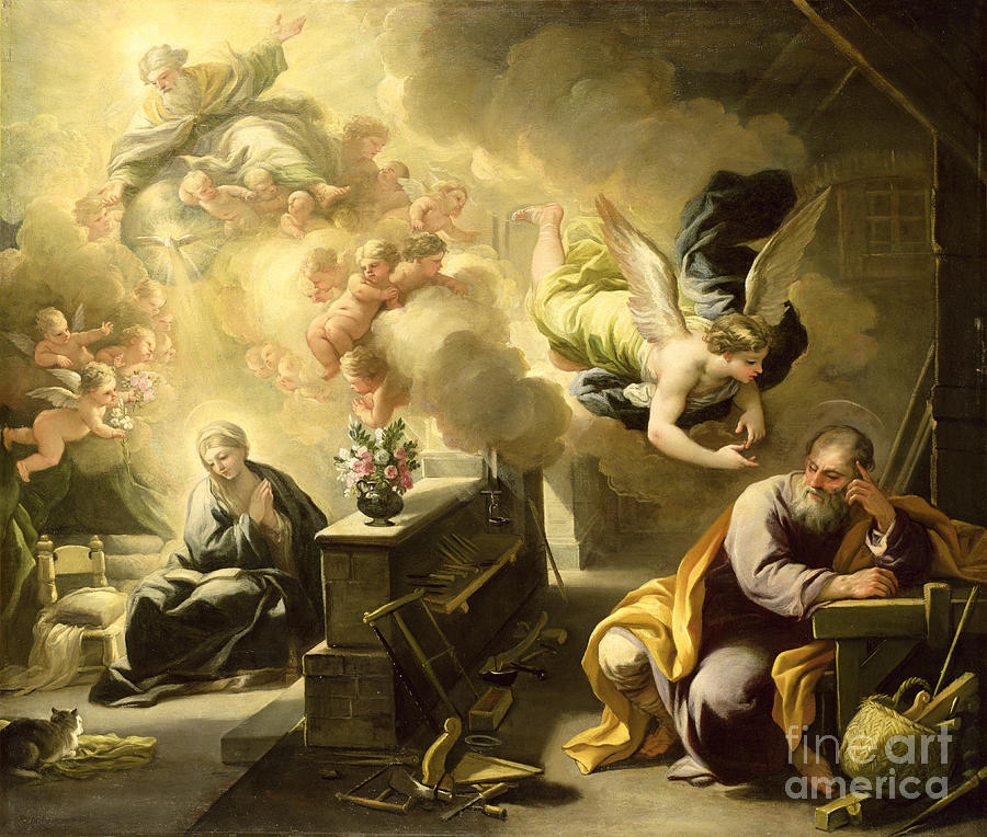 Saint Painting - The Dream Of Saint Joseph by Luca Giordano