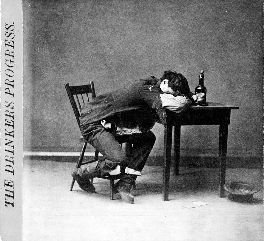 1870s Photograph - The Drinkers Progress He Is Cleaned by Everett