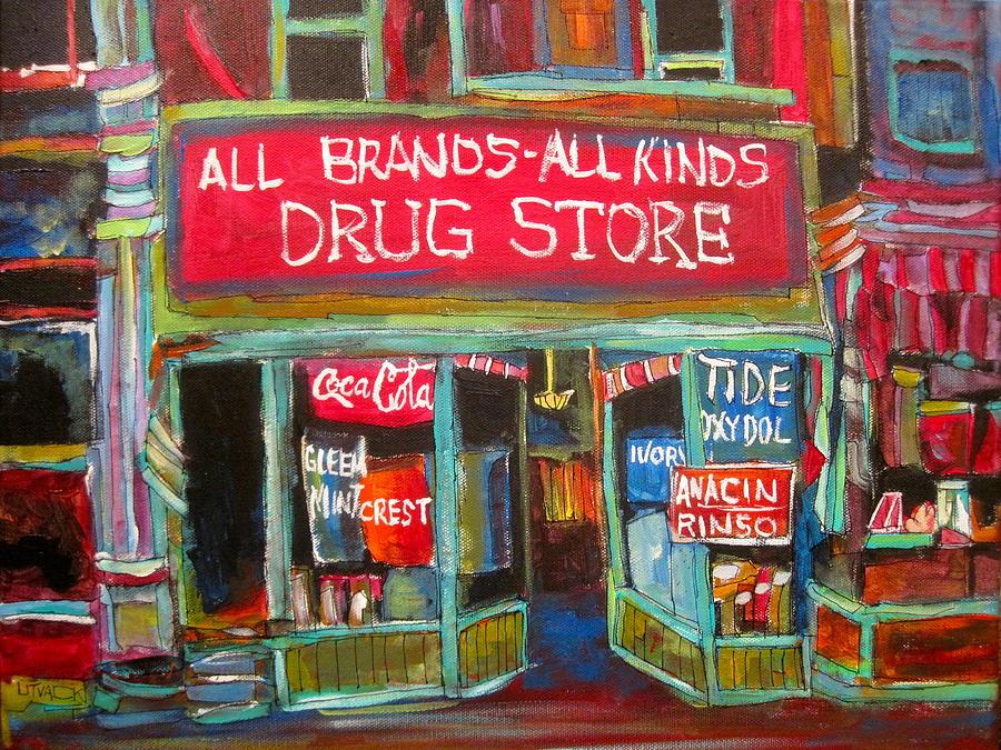 Street Scene Painting - The Drug Store by Michael Litvack