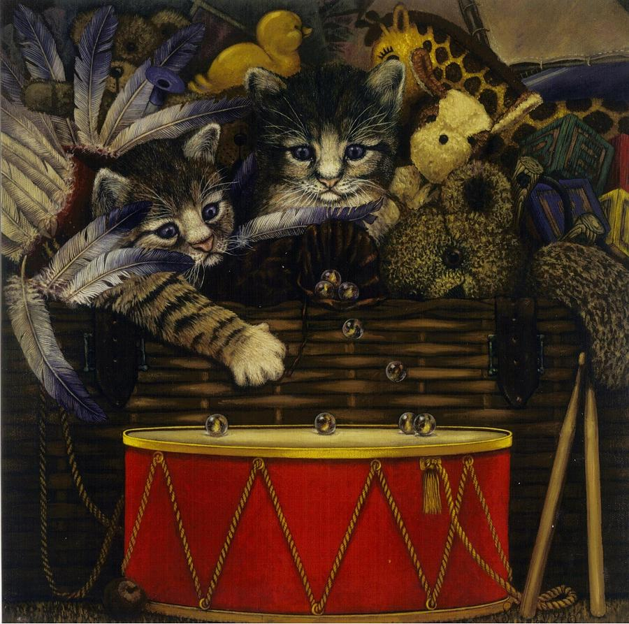 Cats Painting - The Drum by Steven Wood