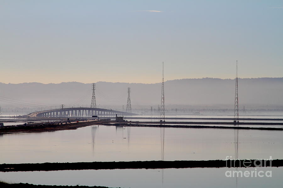 Landscape Photograph - The Dumbarton Bridge In The Bay Area Viewed Through Coyote Hills California . 7d10961 by Wingsdomain Art and Photography