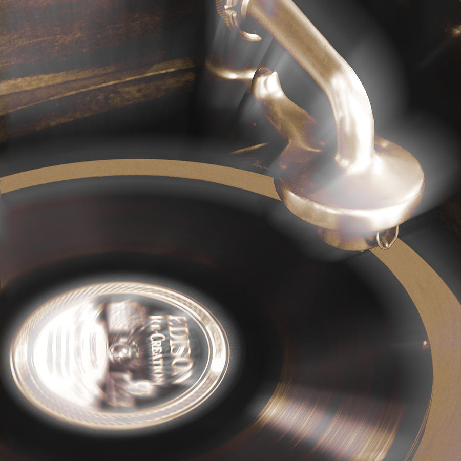 Record Player Photograph - The Edison Record Player by Mike McGlothlen