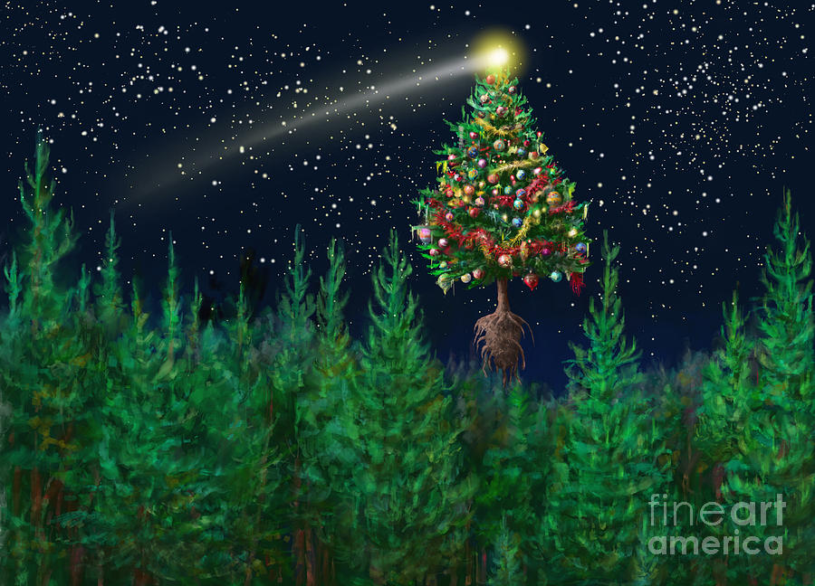 abstract digital art the egregious christmas tree classic landscape by russell kightley