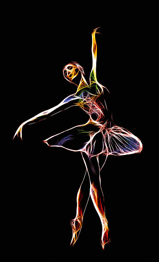 Ballet Ballerina Diva Women Woman Sexy Erotic Girl Female Dancer Dancing Abstract Expressionism Color Colorful Energy Neon Dynamic Painting Art Modern Electric  Digital Art - The  Electric Diva by Steve K