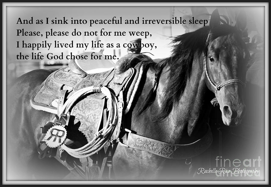 Cowboy Photograph - The Empty Saddle by Rachelle Rice
