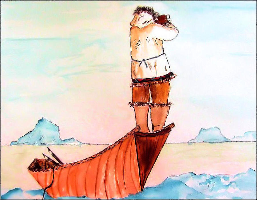 Eskimo Painting - The Eskimo Hunter by Alethea M