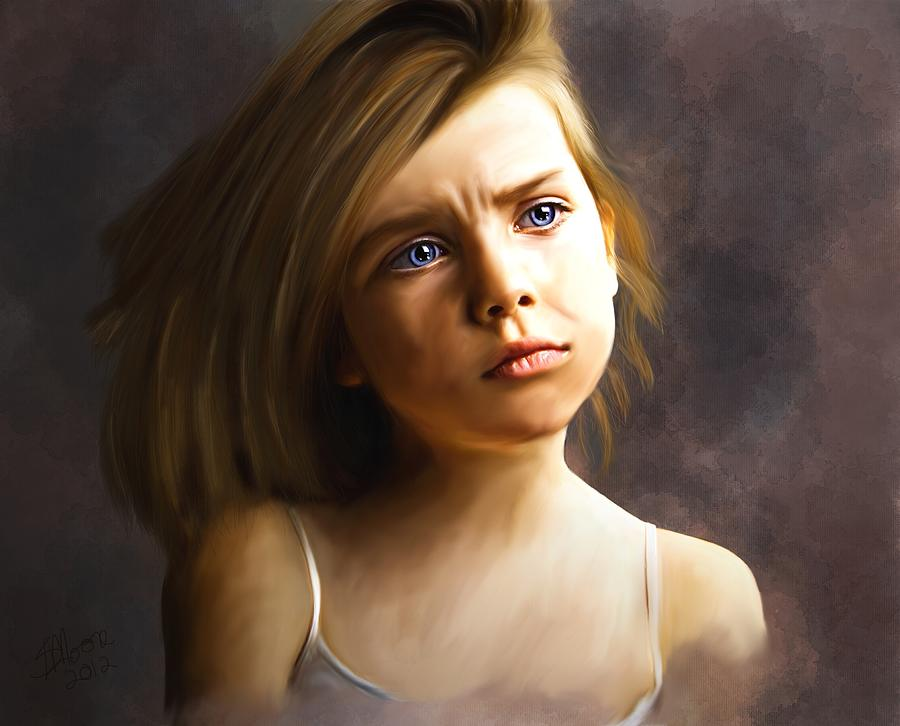 Girl Painting - The Eyes Are The Windows by Stacy Moore