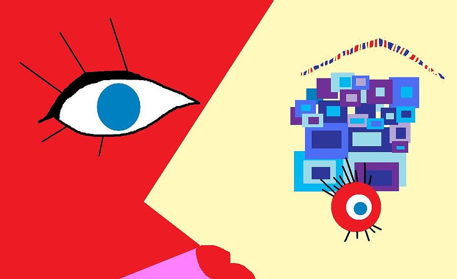 Abstract Digital Art - The Eyes Meet by Miriam Lopez