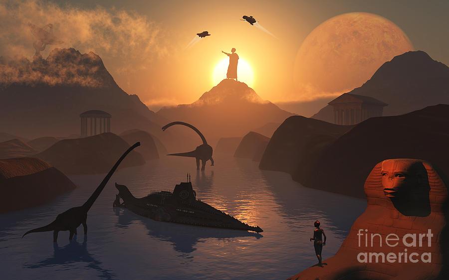 No People Digital Art - The Fabled City Of Atlantis Set by Mark Stevenson