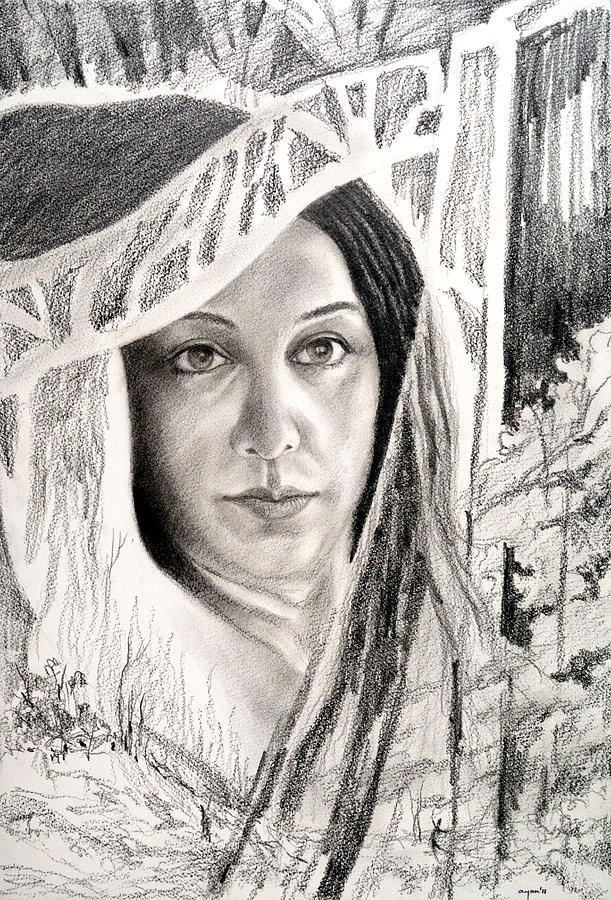 Pencil & Charcoal Portrait  Drawing - The Face by Ayan  Ghoshal