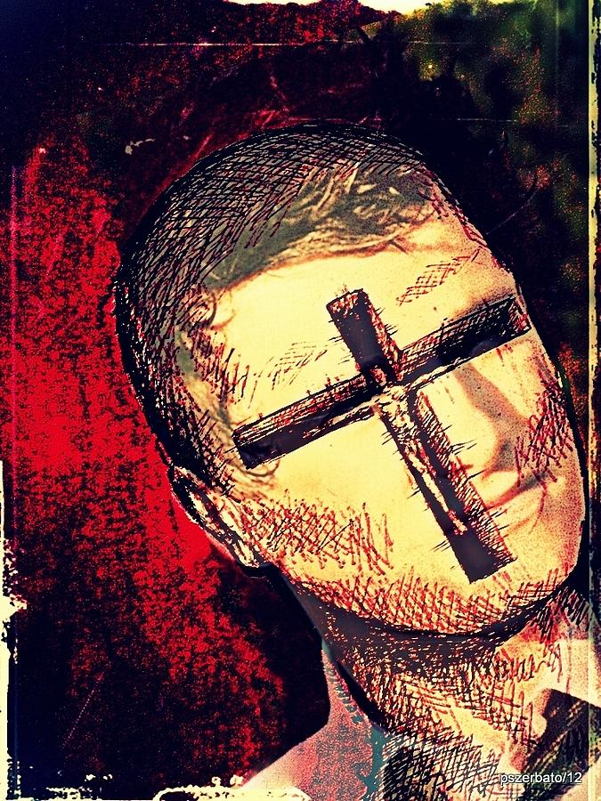 Sweeps Digital Art - The Face Is Sowing Fertile Shadow Of The Cross by Paulo Zerbato