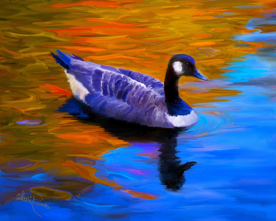 Nature Painting - The Fall Goose by Suni Roveto