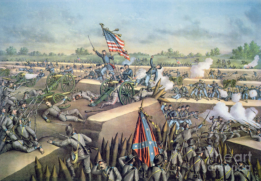 U S; Army; Federal; Confederate; Forces; Troops; Gunfire; Cannons; Battlefield; Battle Painting - The Fall Of Petersburg To The Union Army 2nd April 1965 by American School