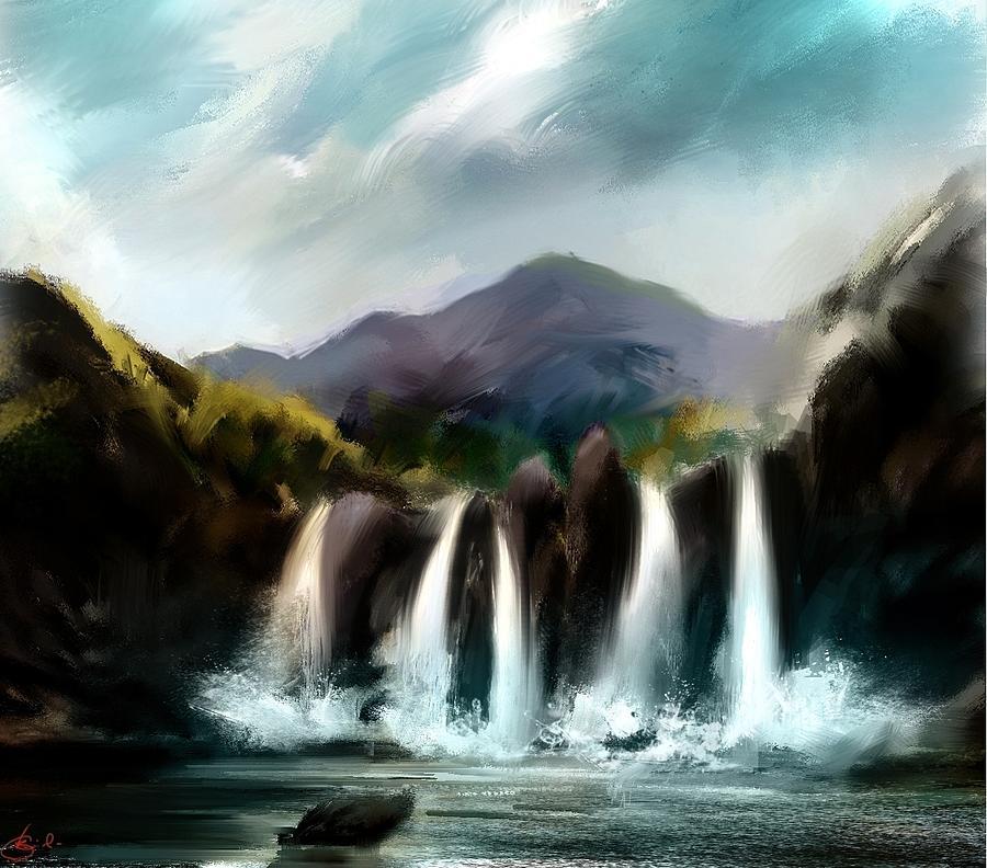 Water Fall Digital Art - The Falls  by Kiran Kumar
