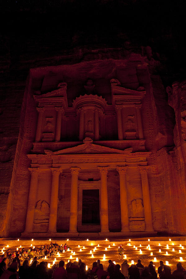 Petra Photograph - The Famous Treasury Lit Up At Night by Taylor S. Kennedy
