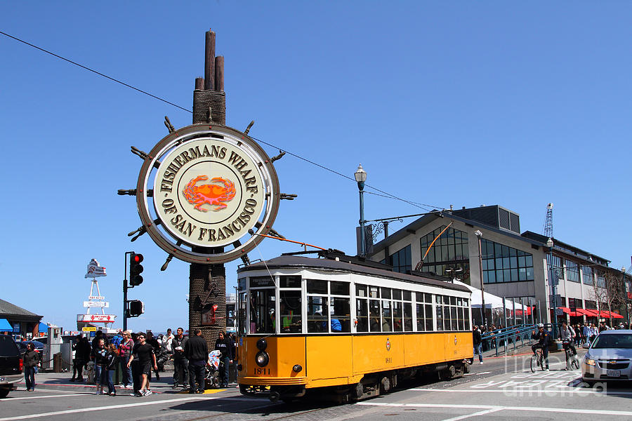 San Francisco Photograph - The Fishermans Wharf Sign . San Francisco California . 7D14234 by Wingsdomain Art and Photography