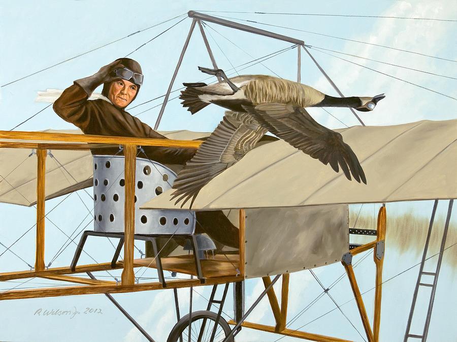 Aviator Painting - The Fledgling by Karen Wilson