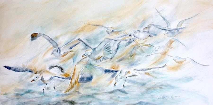 The Flight Of The Seagulls Painting By Elisabet Depenoux