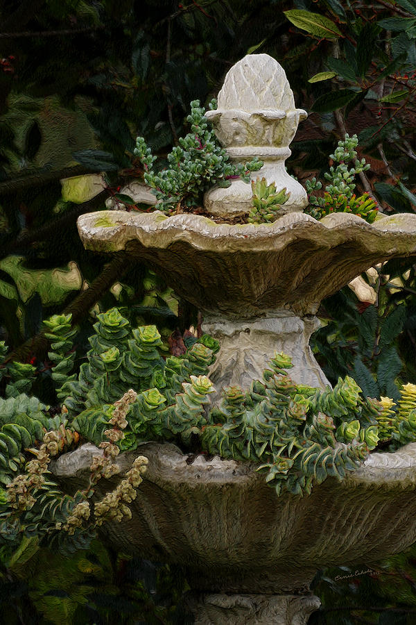 Fountain Photograph - The Fountain Painterly by Ernie Echols