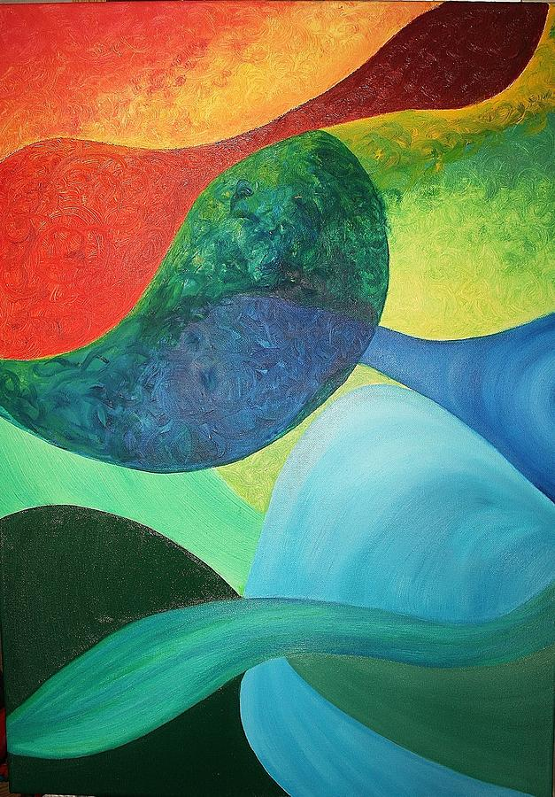 Four Painting - The Four Elements by Derya  Aktas