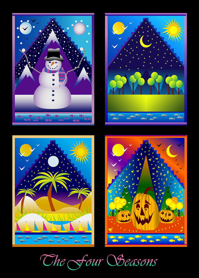 Card Digital Art - The Four Seasons by Nancy Griswold